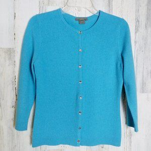 ANN TAYLOR Blue Cashmere Cardigan Sweater  Small